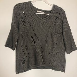 Grey 3 quarter sleeve v neck sweater